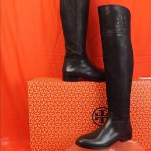 Tory Burch Black Leather Simone Over Knee Boots